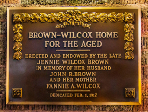 Brown Wilcox Home for the Aged history plaque